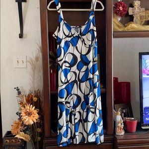 Anne Klein Flowy MIDI Geometric Sleeveless Dress
